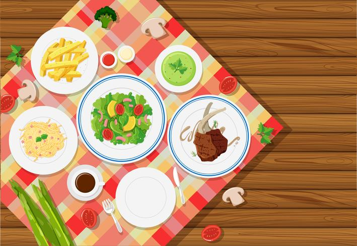 Background template with food on tablecloth vector