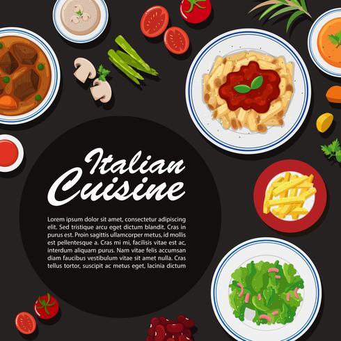 Affiche de la cuisine italienne avec différentes assiettes