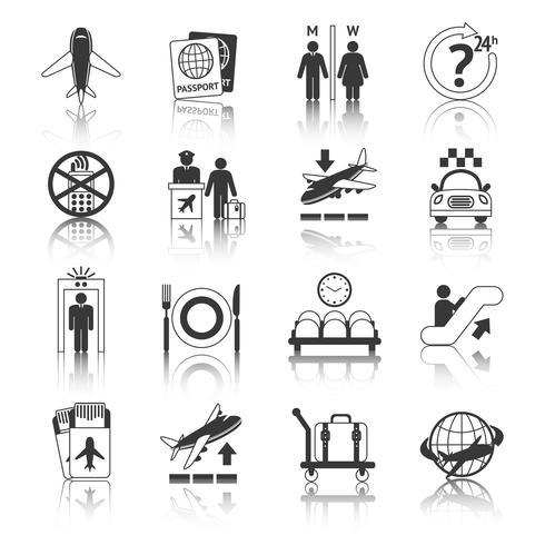 Conjunto de iconos de aeropuerto blanco y negro