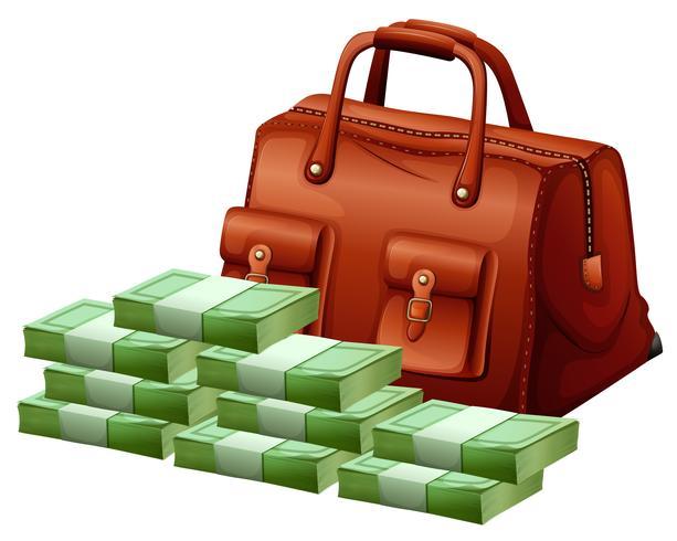 Brun väska och hög med pengar