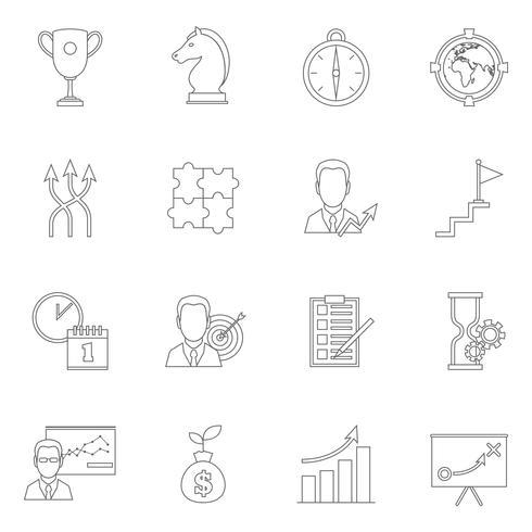 Esquema de icono de planificación de estrategia de negocios