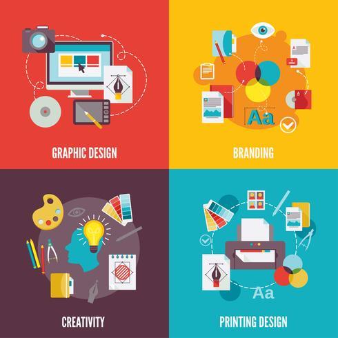 Iconos de diseño gráfico planos vector