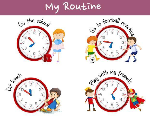 Verschiedene Routinen auf Poster mit Kindern und Aktivitäten