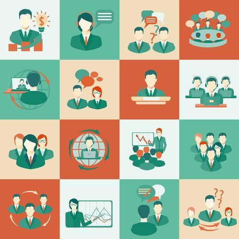 Iconos de reunión establecidos planos vector