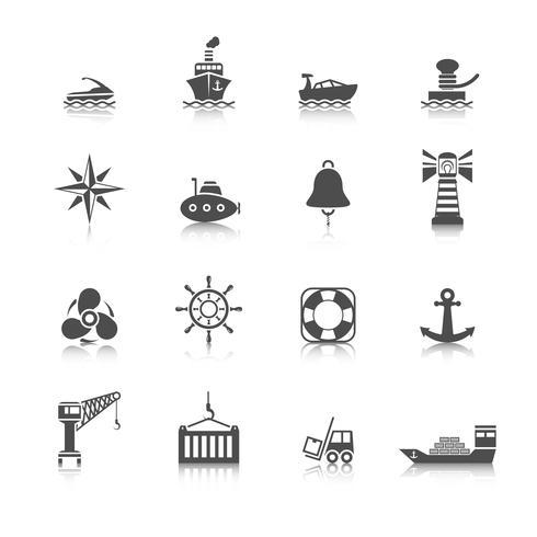 Jeu d'icônes de port de mer