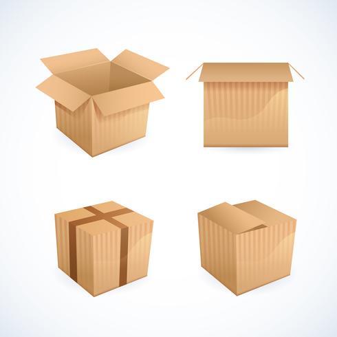 Ícones de caixa e pacote vetor