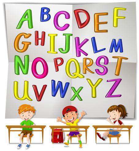 Alfabeti e bambini inglesi in classe
