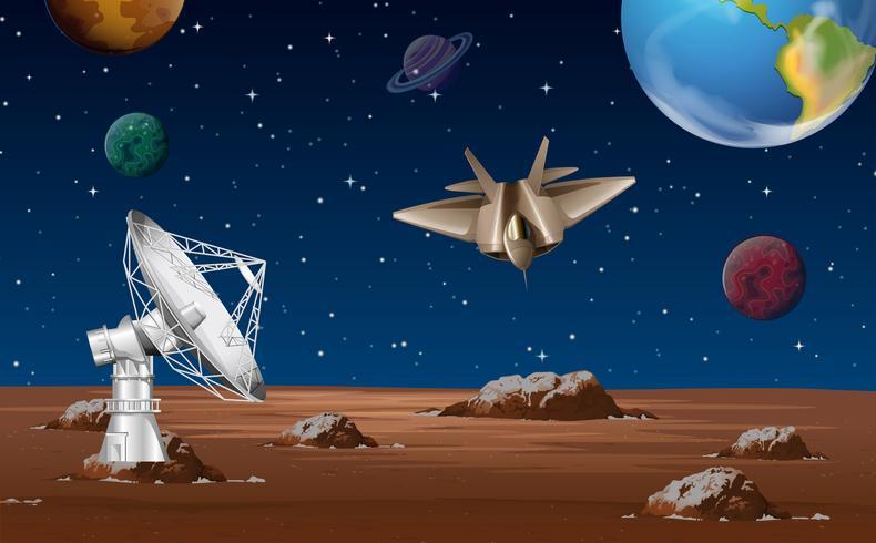 Escena espacial con antena parabólica y nave espacial. vector