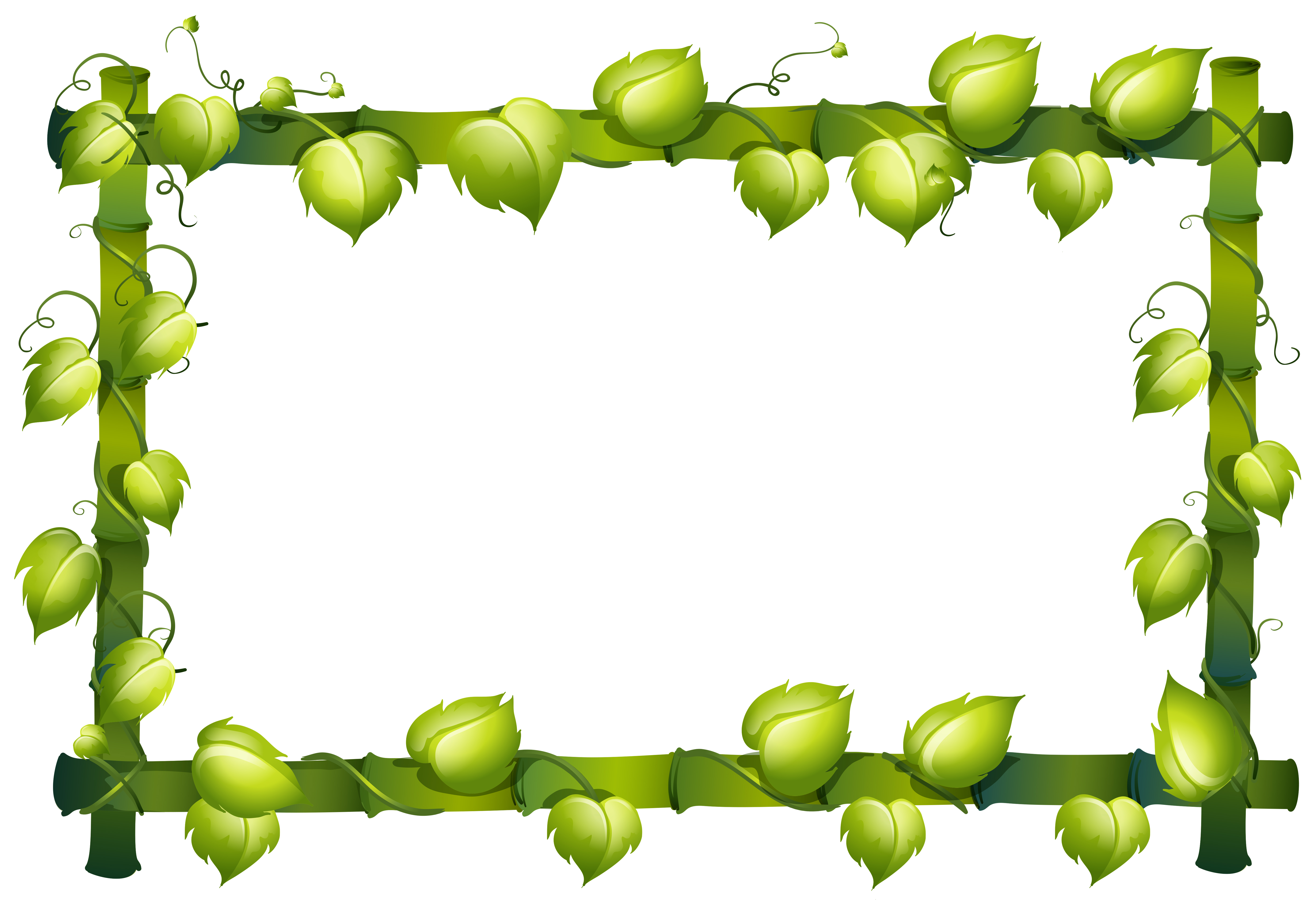 Frame template with bamboo and green leaves - Download ...