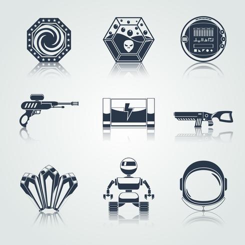 Iconos del juego espacial negro