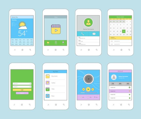 Mobile ui design flat line