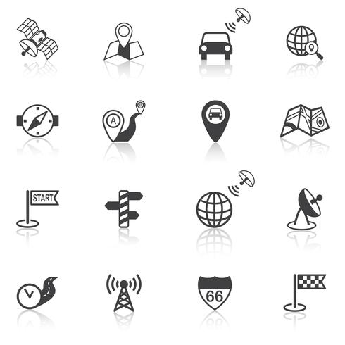Mobile navigation icons black vector