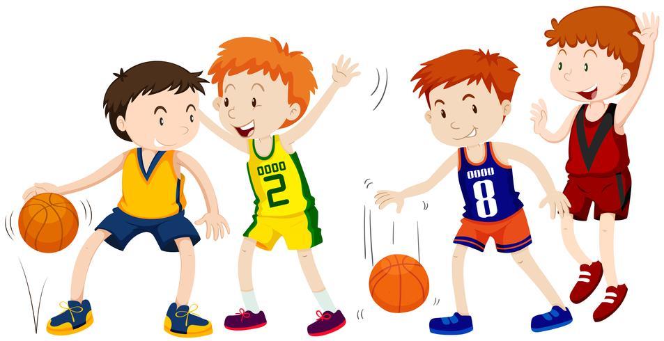 Jungen, die Basketball auf weißem Hintergrund spielen