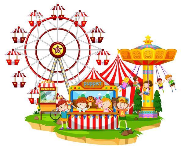 Feliz, crianças, em, circo