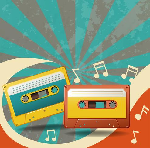 Two vintage tape cassettes and music notes vector
