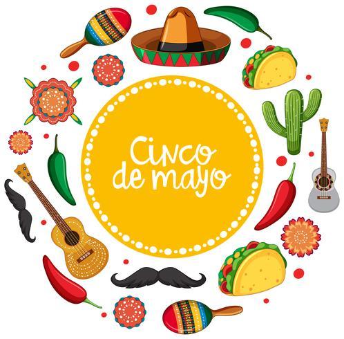 Plantilla de tarjeta de cinco de mayo con instrumentos musicales mexicanos.