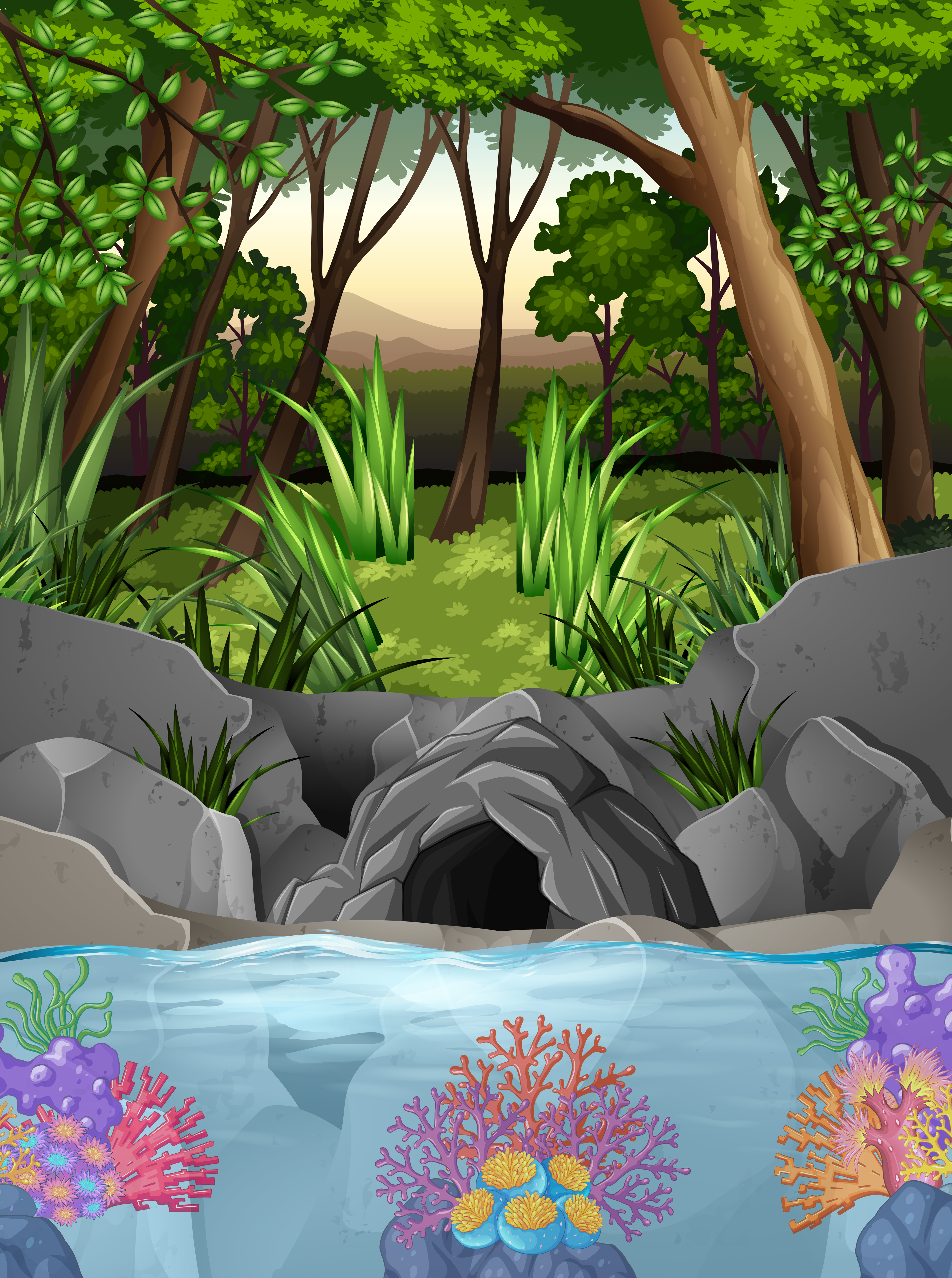 Forest Scene With Cave And Trees Download Free Vectors