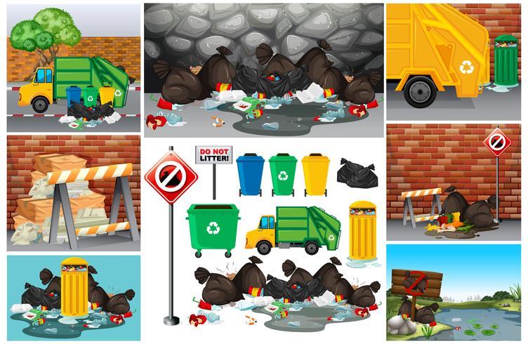 Scènes met vuil afval op de weg