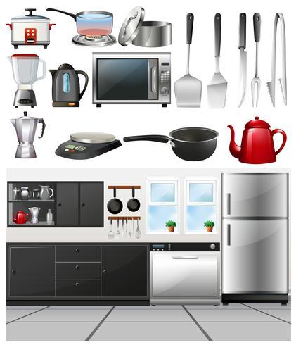 Cocina y utensilios de cocina diferentes.