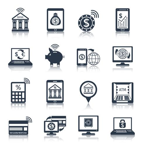 Mobile banking icons black vector