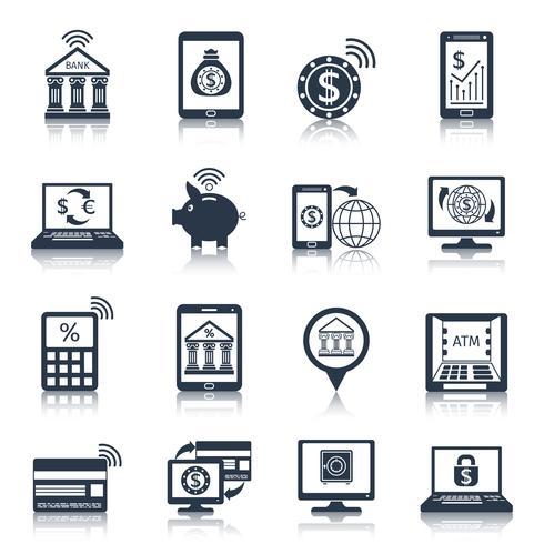 Ícones bancários móveis pretos vetor