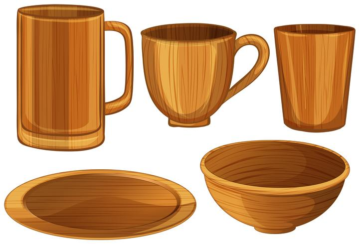 Tassen und Teller aus Holz