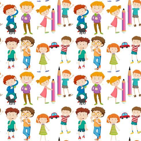 Nahtloser Hintergrund mit glücklichen Kindern