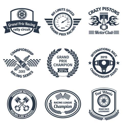 Emblemas de corrida preto
