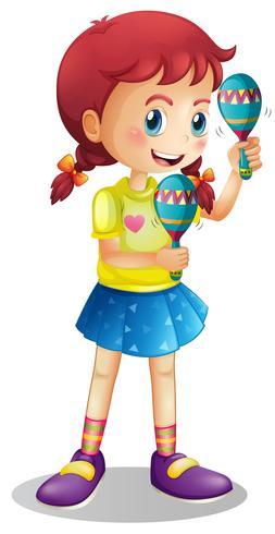 Happy girl playing maracus vector