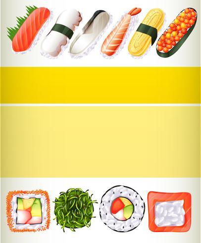 Conception de l'affiche avec différents rouleaux de sushi