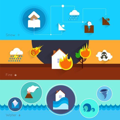 Banners de desastres naturales vector