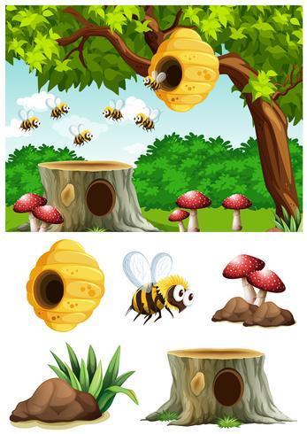 Abelhas, voando, ao redor, colmeia, parque