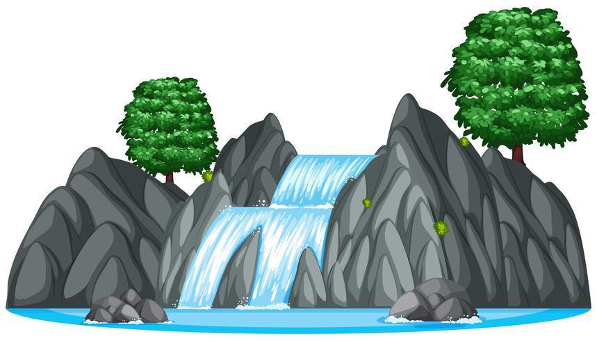 Vattenfall med två stora träd vektor