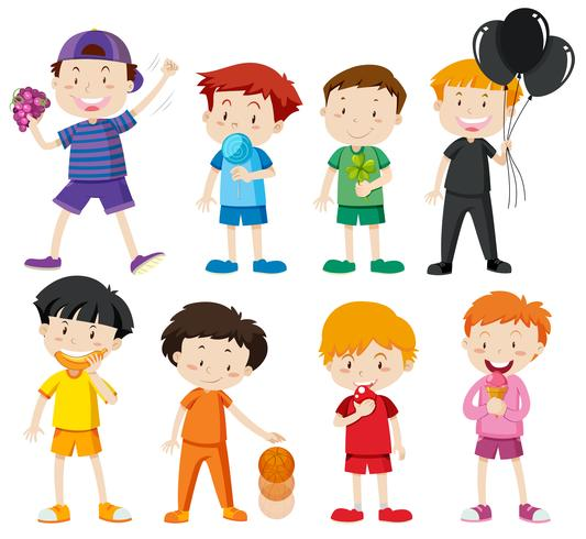 Jongens in verschillende kleurenoverhemden