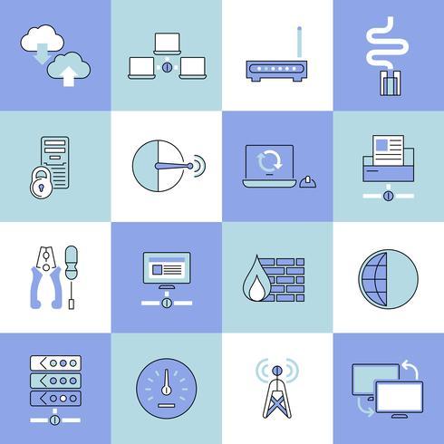 Network icons set flat line