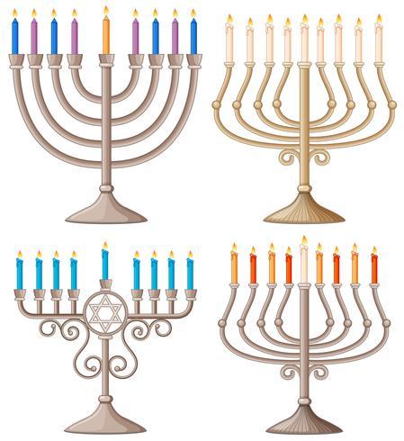 Feliz Hanukkah con diferentes diseños de candelabros.