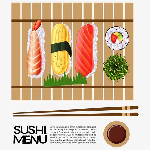 Conception de menu de sushi avec sushi sur un plateau en bois