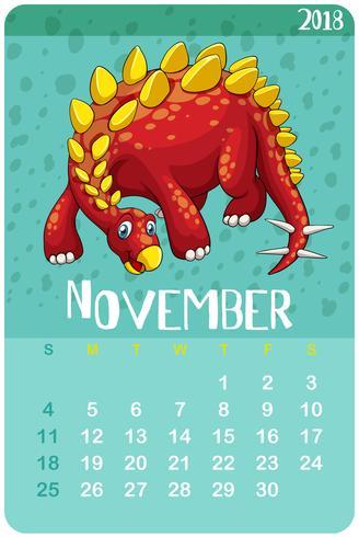 Calendar template for November with stegosaurus