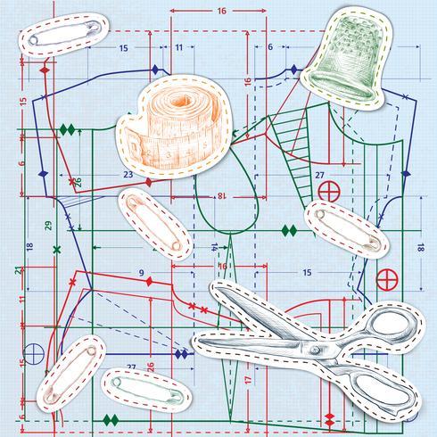 Nahtloses Muster der nähenden Skizze