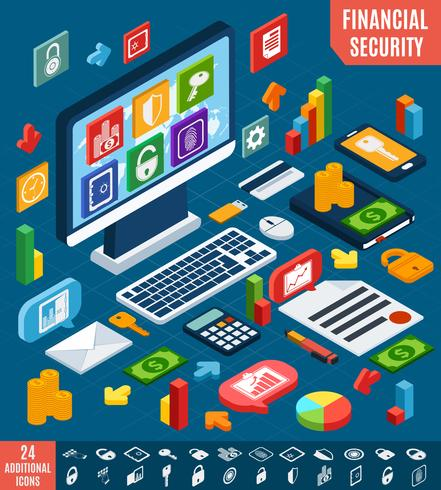 Set de sécurité financière isométrique