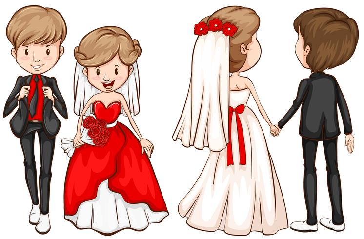 A front and back view of a married couple vector