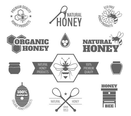 Abeille miel étiquette noire vecteur