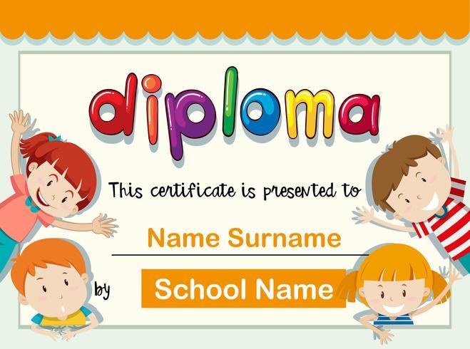 Plantilla de certificado con cuatro niños con gran sonrisa