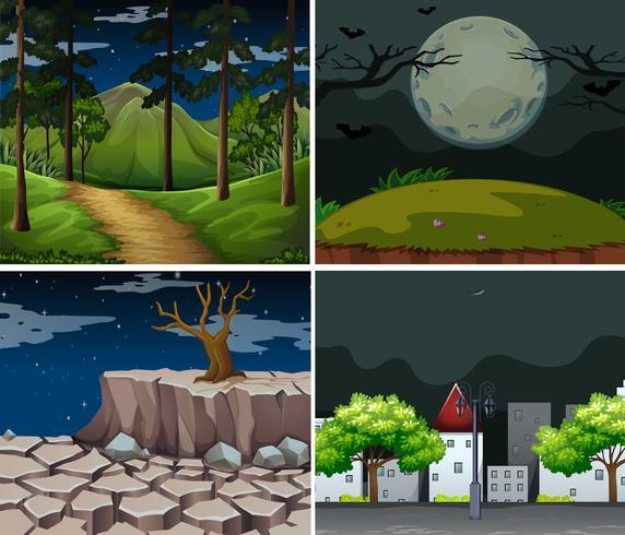 Vier achtergrondscènes met bos en stad