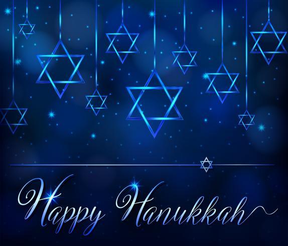 Gelukkig hanukkah kaartsjabloon met blauwe ster-symbool