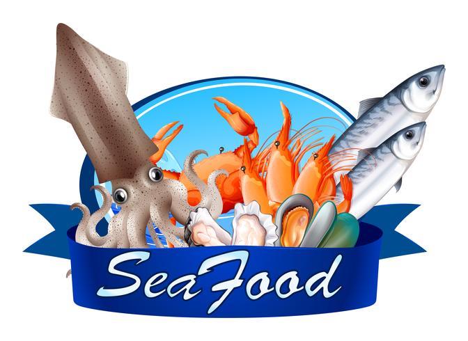 Etiqueta de mariscos con marisco surtido