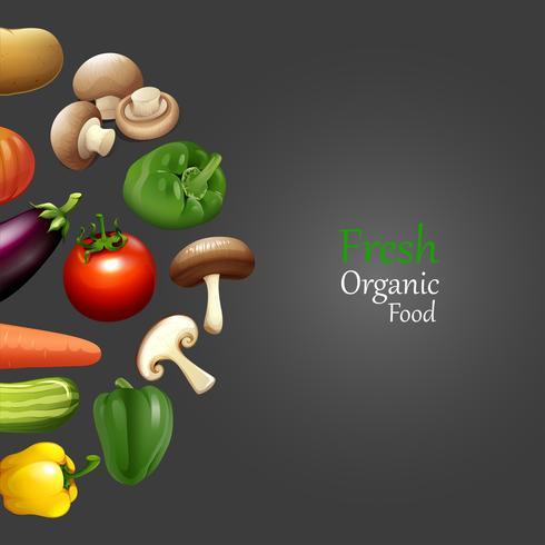 Design de papel com alimentos orgânicos frescos