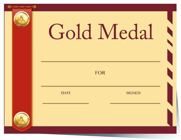 Zertifikatvorlage für Goldmedaille auf Papier