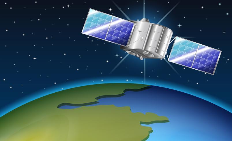 Escena de fondo con satélite volando sobre la tierra vector