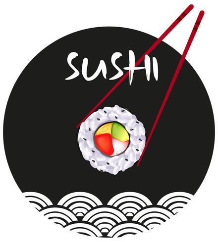 Aufkleberdesign mit Sushi